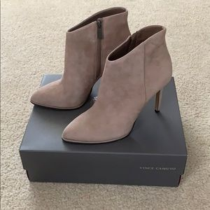 Taupe suede Vince Camuto heel booties